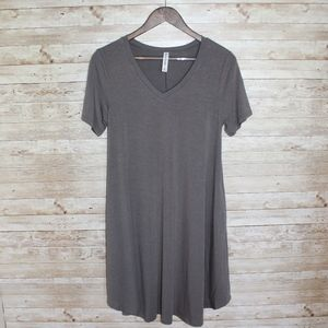 Casual gray v neck t shirt dress with pockets!